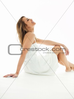 blond woman in white clothes