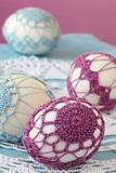 Purple and blue crochet Easter eggs