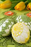 Yellow and green crochet Easter eggs