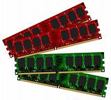 Two set DDRII modules red and green
