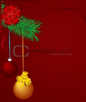 Christmas bulbs on pine