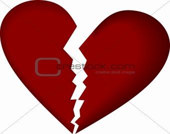 Broken heart on white