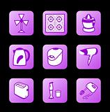 Home appliances icons, purple contour series