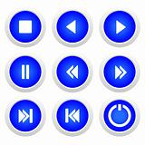 Music blue buttons set
