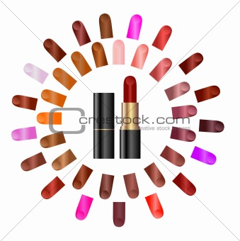 Palette of colours of lipstick