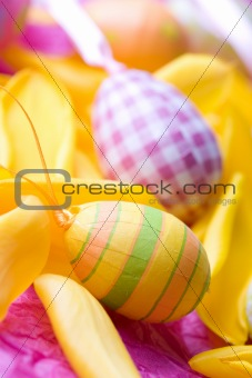 Bright coloured Easter eggs
