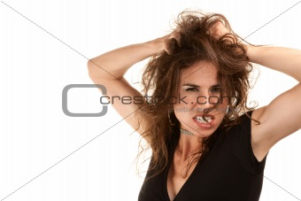 Pretty woman with wild brunette hair on white background