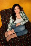 Pretty Latina Woman in Casual Clothes with Plaid Shirt