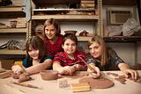Kids in a clay studio