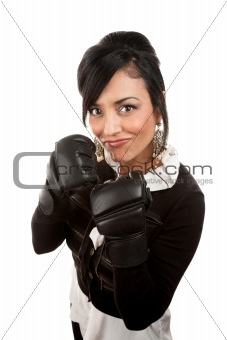 Hispanic Businesswoman with Boxing Gloves