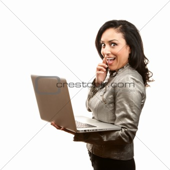 Hispanic Woman with Laptop