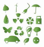 Collection of green eco-icons
