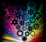 rainbow background with gearwheel