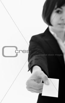 young business  woman displaying empty business card