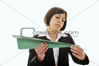 business woman throwing  paper airplane