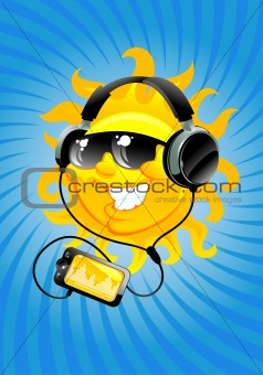 cartoon sun with headphone
