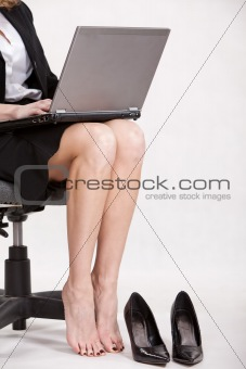 Careerwoman working legs