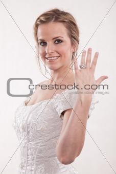 Attractive twenties blond caucasian woman bride