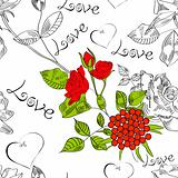 Seamless pattern with flowers and inscription