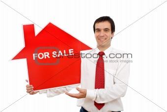 Real estate agent with house shaped sign