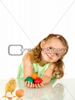 Adorable little girl with easter eggs and chicken - isolated