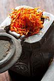 Saffron on iron tin