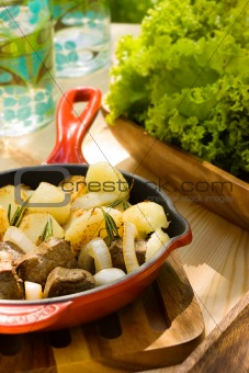 Potato with onion and meat