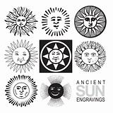 set of antique sun engravings (vector)