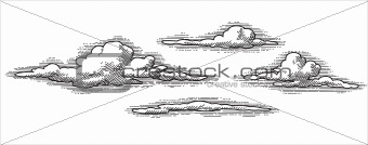 grunge clouds, antique engraving (vector)