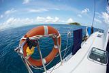 Life saving buoy on a sailing boat