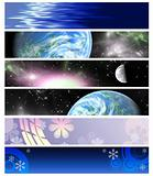 six multi-coloured  banners 3