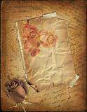 Rose and old paper with the hand-written text