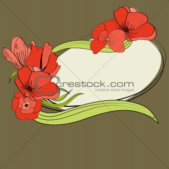 Greeting card with red flowers