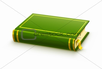 closed green book with blank cover