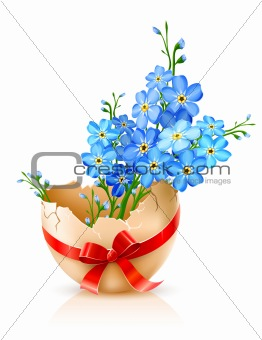 broken egg shell with red bow and forget-me-not flowers