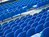 Blue chairs of the stadium