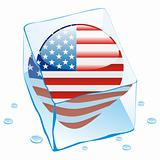 illustration of america button flag frozen in ice cube