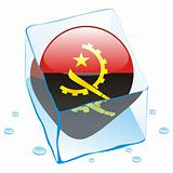 vector illustration of angola button flag frozen in ice cube