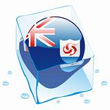 illustration of anguilla button flag frozen in ice cube