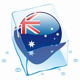 illustration of australia button flag frozen in ice cube