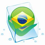 illustration of brazil button flag frozen in ice cube