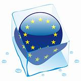 vector illustration of EU button flag frozen in ice cube