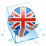vector illustration of great britain button flag frozen in ice cube