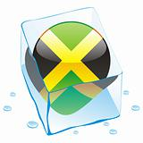 illustration of jamaica button flag frozen in ice cube