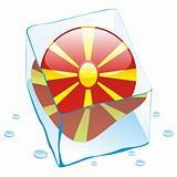 vector illustration of macedonia button flag frozen in ice cube