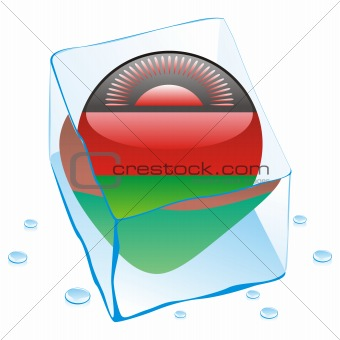 vector illustration of malawi button flag frozen in ice cube
