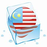 vector illustration of malaysia button flag frozen in ice cube