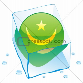 vector illustration of mauritania button flag frozen in ice cube