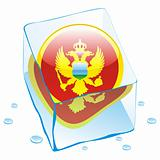 vector illustration of montenegro button flag frozen in ice cube