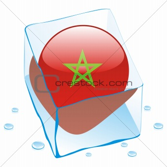 vector illustration of morocco button flag frozen in ice cube
